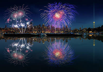 Photograph - Seattle Skyline And Fireworks by William Lee