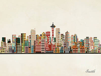 Painting - Seattle Skyline by Bleu Bri