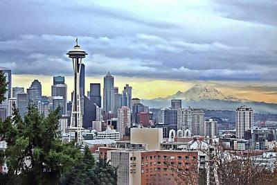 Mt Hood Painting - Seattle Skyline In Fog And Rain  by Elaine Plesser
