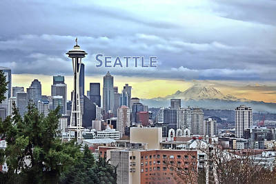 Mt Hood Painting - Seattle Skyline In Fog And Rain Text Seattle by Elaine Plesser