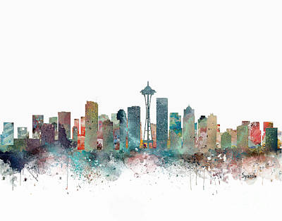 Painting - Seattle Washington Skyline  by Bleu Bri