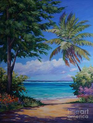 Caribbean Sea Painting - Secret Beach by John Clark