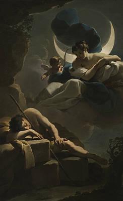 Late 18th Century Painting - Selene And Endymion by Ubaldo Gandolfi
