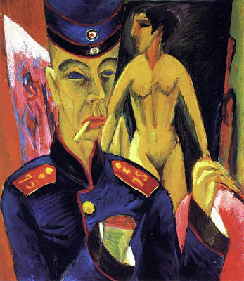 Self Shot Painting - Self Portrait As A Soldier by Ernst Ludwig Kirchner