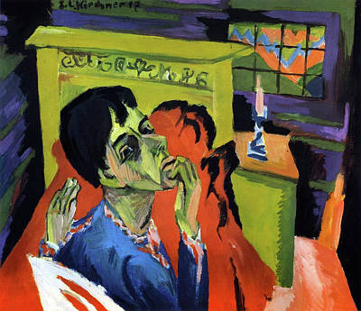 Self Shot Painting - Self Portrait As Sick by Ernst Ludwig Kirchner