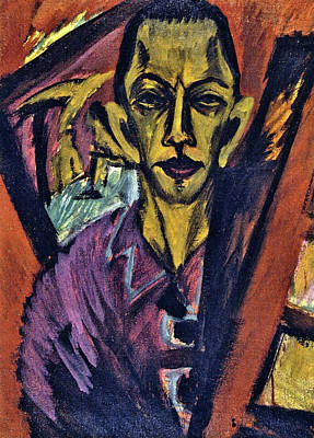 Self Shot Painting - Self-portrait by Ernst Ludwig Kirchner