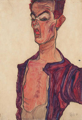 Artist Self Portrait Painting - Self-portrait, Grimacing by Egon Schiele