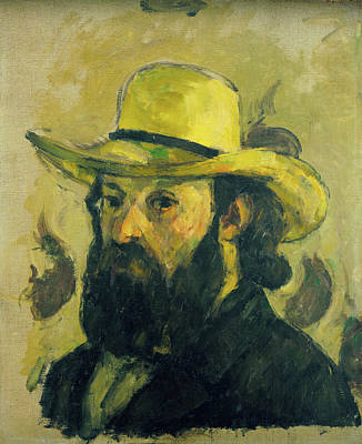 French Painting - Self-portrait In A Straw Hat by Paul Cezanne