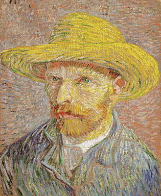 Beard Painting - Self-portrait With A Straw Hat by Vincent van Gogh