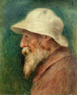 Beard Painting - Self-portrait With A White Hat by Pierre-Auguste Renoir