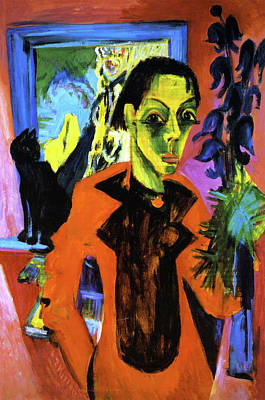 Self Shot Painting - Self Portrait With Cat by Ernst Ludwig Kirchner