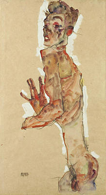 Self Portrait Painting - Self-portrait With Splayed Fingers by Egon Schiele