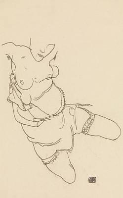 Drawing - Semi-dressed Model by Egon Schiele