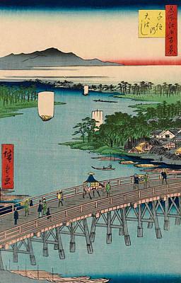 Edo Period Painting - Senju Great Bridge by Utagawa Hiroshige