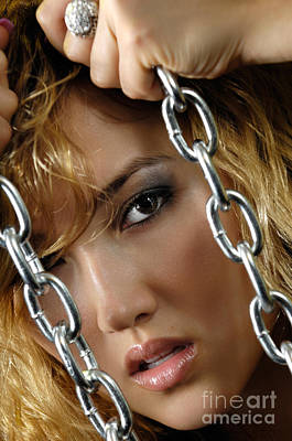 Sexy Women Photograph - Sensual Woman Face Behind Chains by Oleksiy Maksymenko