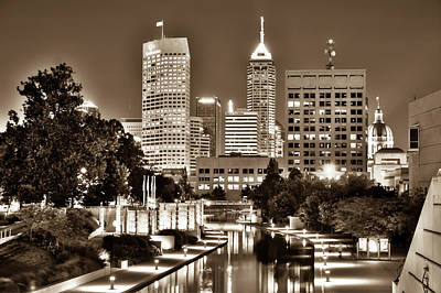 Photograph - Sepia Indianapolis Skyline Cityscape - Indiana - Usa  by Gregory Ballos