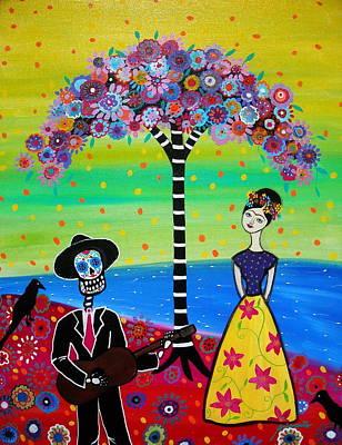 Frida Kahlo Flowers Painting - Serenading Frida by Pristine Cartera Turkus