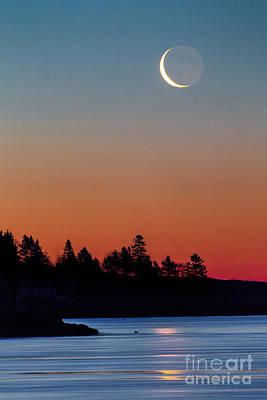Popham Beach Photograph - Crescent Moon by Benjamin Williamson