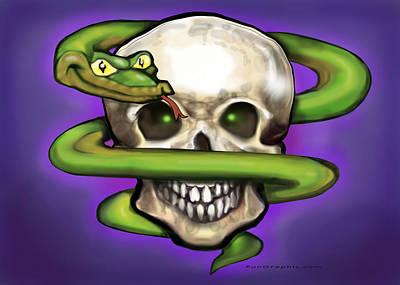 Serpent Digital Art - Serpent N Skull by Kevin Middleton
