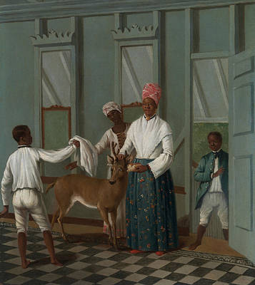 Indy Indians Painting - Servants Washing A Deer by Agostino Brunias