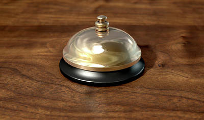 Brass Etched Digital Art - Service Bell Brass by Allan Swart