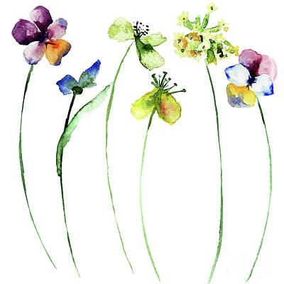Painting - Set Of Flowers by Regina Jershova