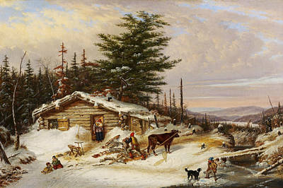 Painting - Settler's Log House by Cornelius Krieghoff