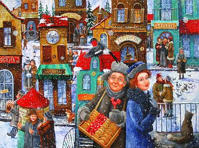 Seven Snowflakes Over My Town Art Print