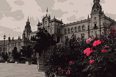 Painting - Seville A View Of Plaza De Espana by Andrea Mazzocchetti
