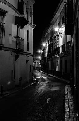 Photograph - Seville At Night - Calle Aguilas by Andrea Mazzocchetti