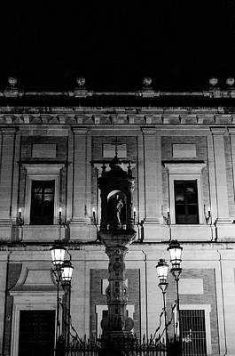 Photograph - Seville At Night - Plaza Del Triunfo by Andrea Mazzocchetti