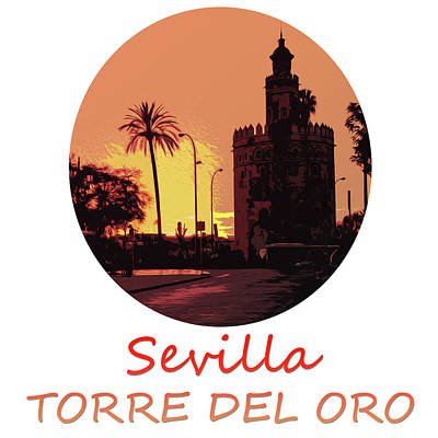 Painting - Seville, Torre Del Oro At Sunset by Andrea Mazzocchetti