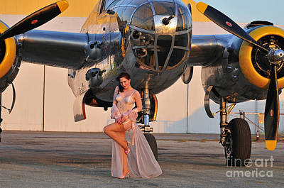 B-25 Photograph - Sexy 1940s Pin-up Girl In Lingerie by Christian Kieffer