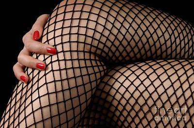 Sexy Legs In Fishnet Stockings Art Print