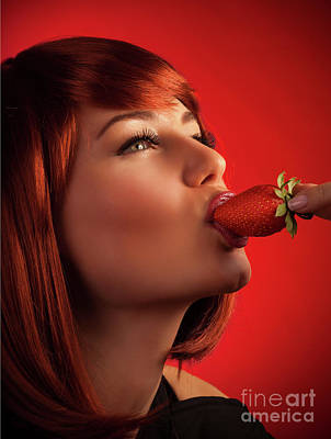 Photograph - Sexy Woman Eating Strawberry by Anna Om