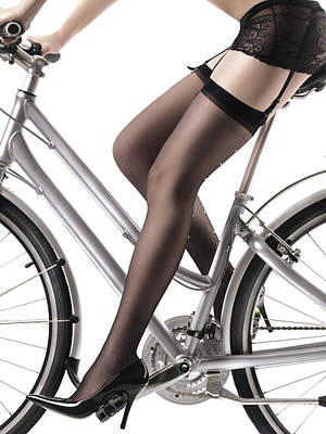 Classic Studio Photograph - Sexy Woman Riding A Bike by Oleksiy Maksymenko
