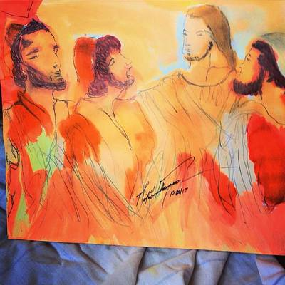 Painting - Shadrach, Meshach And Abednego In The Fire With Jesus by Love Art Wonders By God