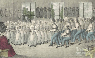 Christianity Drawing - Shakers Near Lebanon by Nathaniel Currier