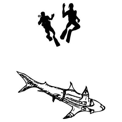 Shark Wearing Jean Jacket Art Print by Karl Addison