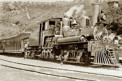 Photograph -  Shay Locomotive #7 Mount Tamalpais Circa 1910 by California Views Mr Pat Hathaway Archives