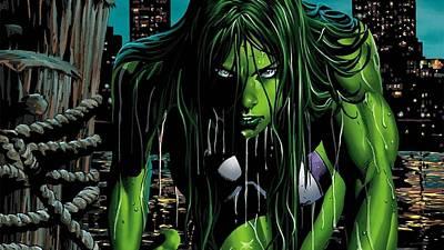 Fractal Digital Art - She-hulk by Maye Loeser