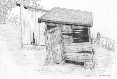 Old Shed Drawing - Shed And Wpa Outhouse On Johnson Farm by Tree Whisper Art - DLynneS