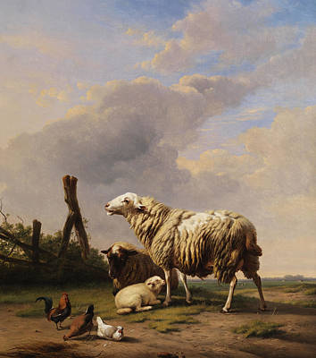 Nature Scene Painting - Sheep by Eugene Verboeckhoven