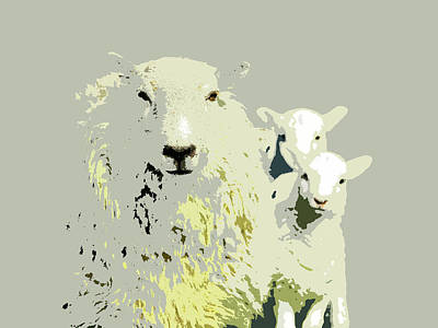 Digital Art - Sheep With Lambs by Mary Castellan