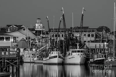 Photograph - Shem Creek At Night In Black And White by Dale Powell