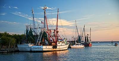 Shem Creek Photograph - Shem Creek Shrimp Boats At Sunset by Matt Plyler