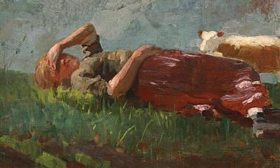 Winslow Homer Painting - Shepherd Girl Resting by Winslow Homer