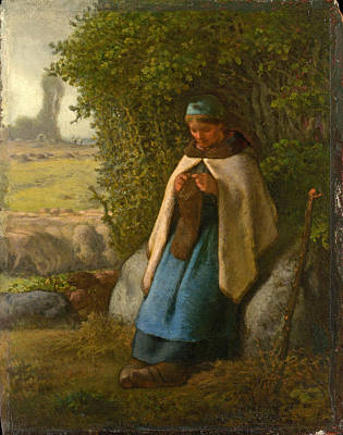 Shepherdess Seated On A Rock Millet Painting - Shepherdess Seated On A Rock by Jean Francois Millet