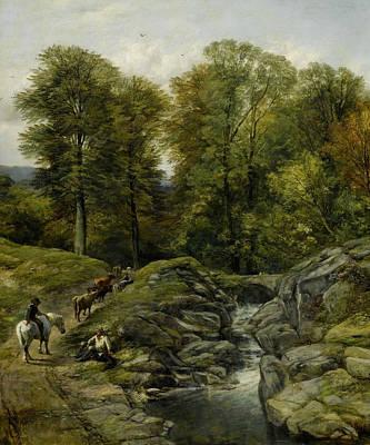 Shepherds Next To A Brook Art Print by Thomas Creswick