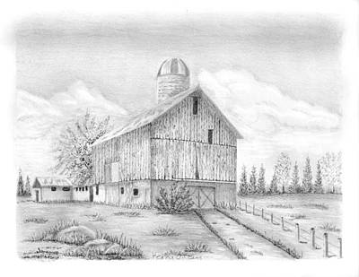 Old Barn Drawing Drawing - Sheshequin Township Farm by Kerry Facey